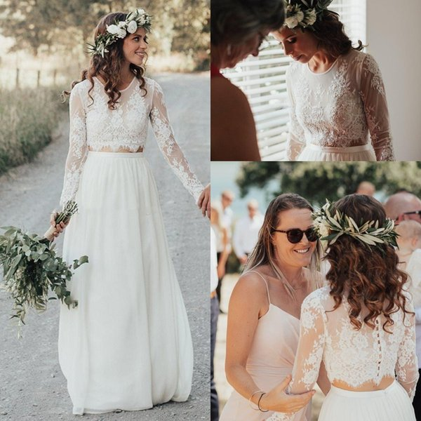 Discount Hot Sell Country Garden Bohemian Wedding Dresses A Line Sheer Jewel Neck Long Sleeve Appliques Chiffon Two Pieces Beach Boho Bridal Gowns