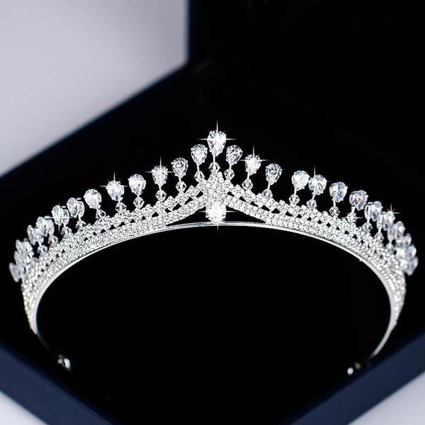 Moda Gümüş Düğün Saç Aksesuarları Zirkon Kristal Tiaras Taçlar İçin Kadınlar Gelin Diadem Kraliçe Prenses Saç Takı Yarışması D19011102