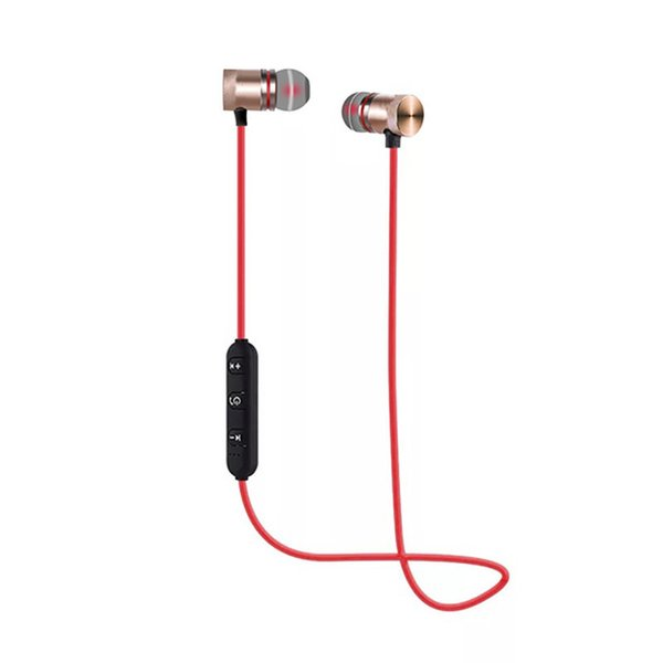 Wireless Bluetooth Earphones Metal Magnetic Stereo Neckband Sports Bass Cordless Headset Earbuds With Microphone headphones for iPhone