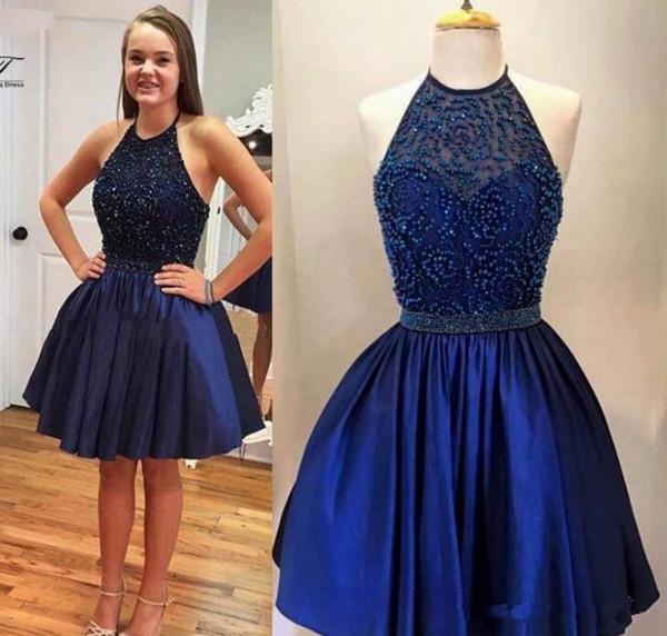 Compre Azul Marino Vestidos De Fiesta Cortos 2019 Halter Barato Grano Dulce 16 Vestidos De Baile Vestido De Fiesta Rebordear Vestido De Cóctel Corto A