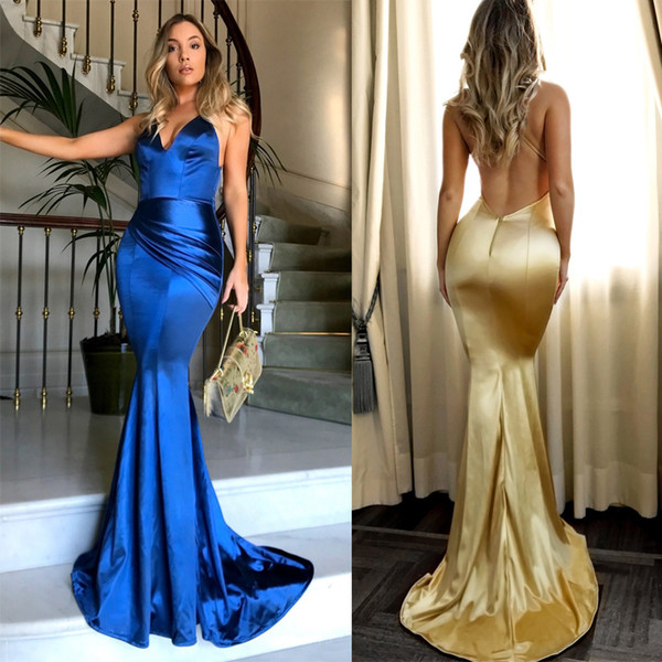 Sexy gold blue Sequin Evening Dresses Long V Neck Cheap Party Gowns Backless Sweep Train Formal Prom Dress for Women