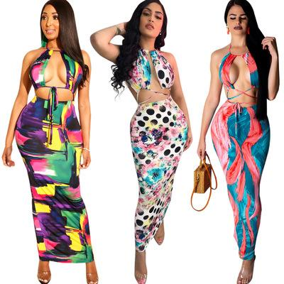 Women Summer Printing Halter Dresses Club Evening Party Cocktail Sleeveless High Quality Dress Summer Clothing Plus Size S-2XL