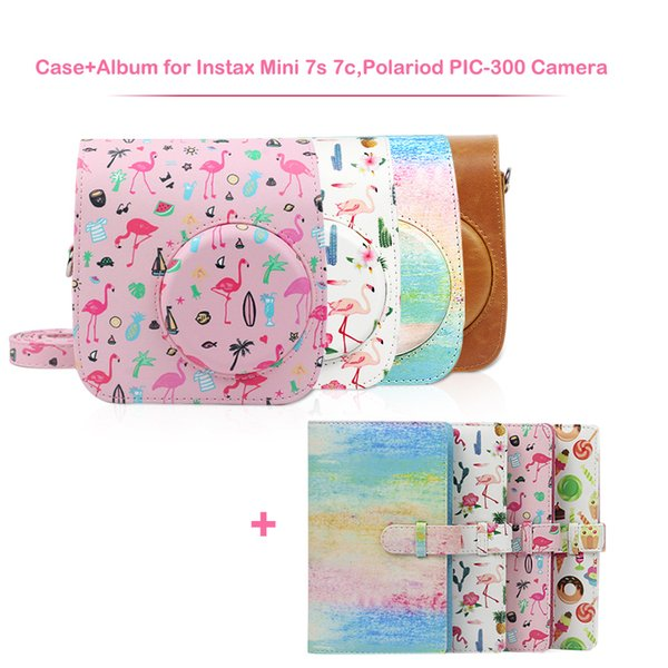 PU Leather Camera Case Bag and 96 Pockets Album Kit for Instax Mini 7s 7c Instant Film Camera, Polaroid PIC-300 Camera