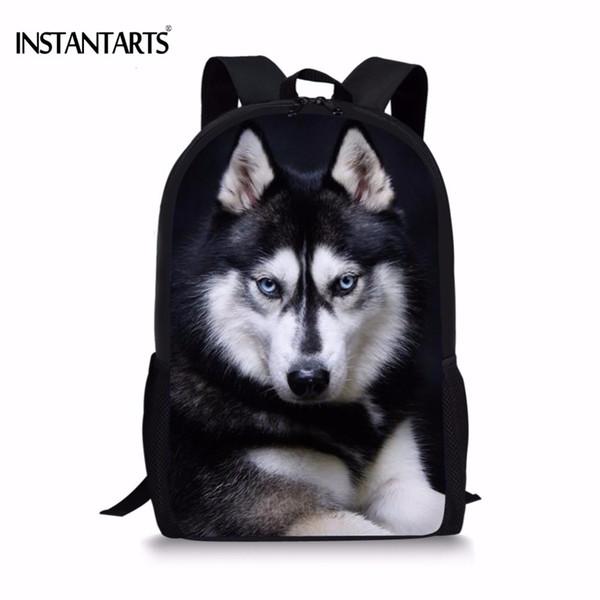 INSTANTARTS Funny 3D Dog Husky Print Boys Girls backpack Travel Laptop Dayback for Teens Middle School Student Book Shoulder BagMX190903