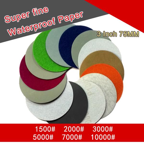 top popular 36PCS 3 Inch Flocking Waterproof Sandpaper Abrasive Paper 400 to 10000 Grits Self-adhesive Wet & Dry for Sanding Polishing 2021