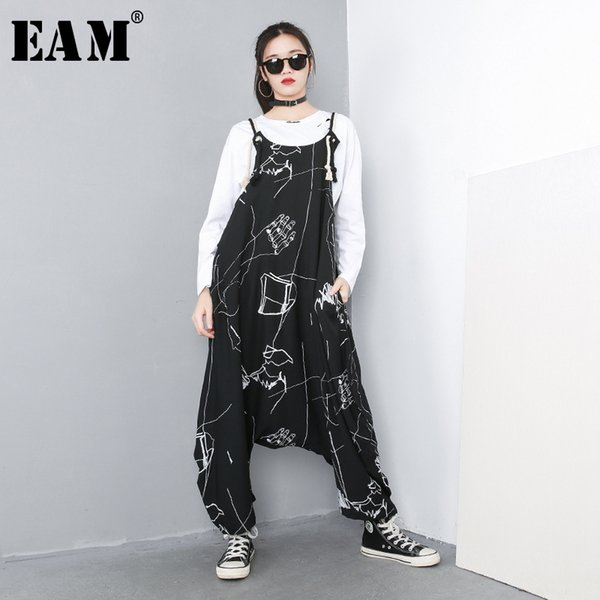 [EAM] 2019 New Spring Summer Big Size Personality High Waist Print Pocket Stitch Loose Baggy Pants Women Jumpsuit Fashion 1C057