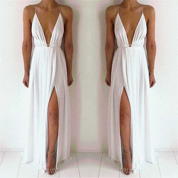 Bigsweety Sexy Maxi Dress Donna senza maniche Backless Boho Long Dress Bridesmaid formale Summer Party Bandage con fessura Vestidos