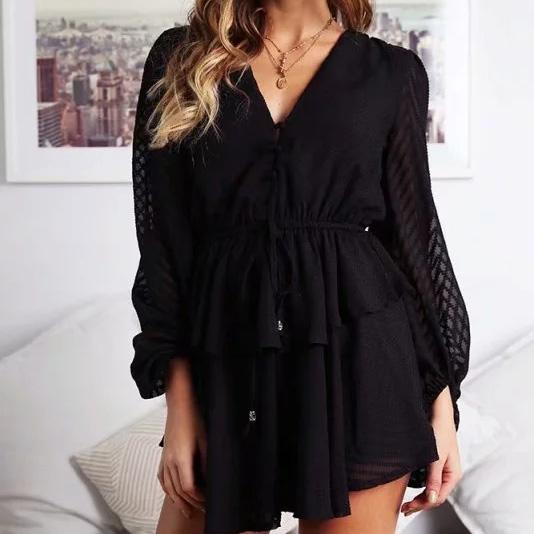 Women Ruffle Layered Button White Chiffon Rompers White Transparent Short Jumpsuit Solid Sexy Mesh Black Playsuit