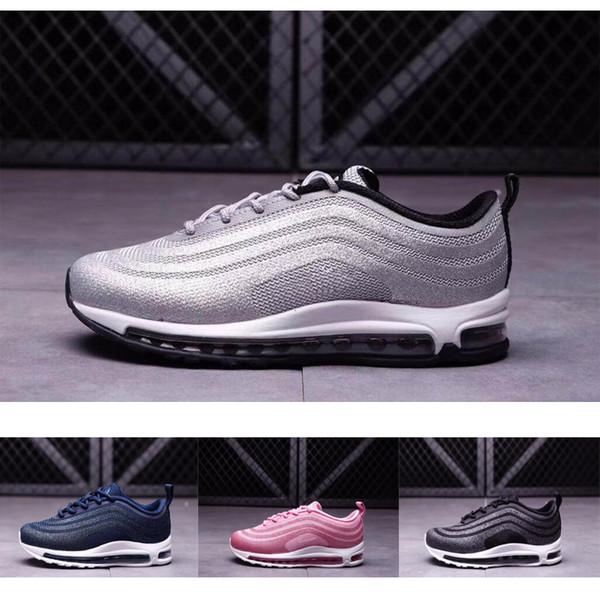 Compre Nike Air Max 97 Juvenil Niños 97 Zapatos Og Triple Blanco Zapatillas De Running Niños Niña Metallic Gold Silver Bullet Pink Zapatillas