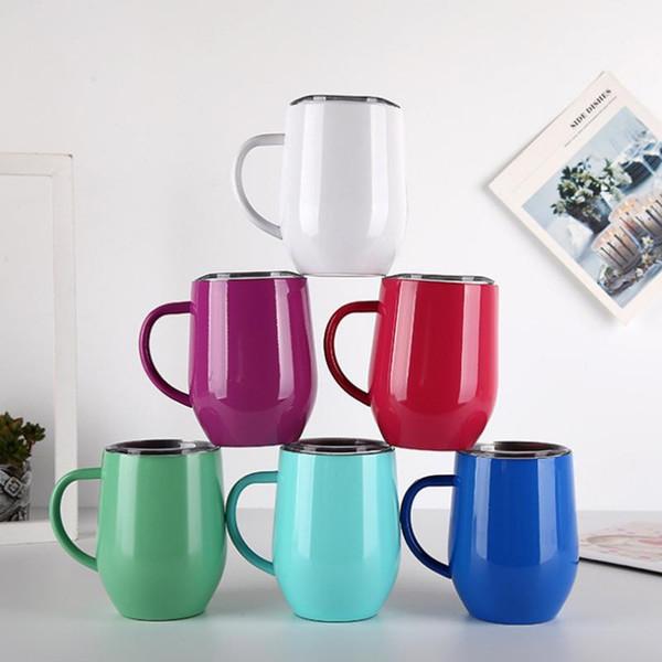 12 oz en acier inoxydable Coquetier tasse de café avec la poignée du couvercle tasse de thé Bouteille d'eau verres à vin double couche Chope solide Tumbler AN3118