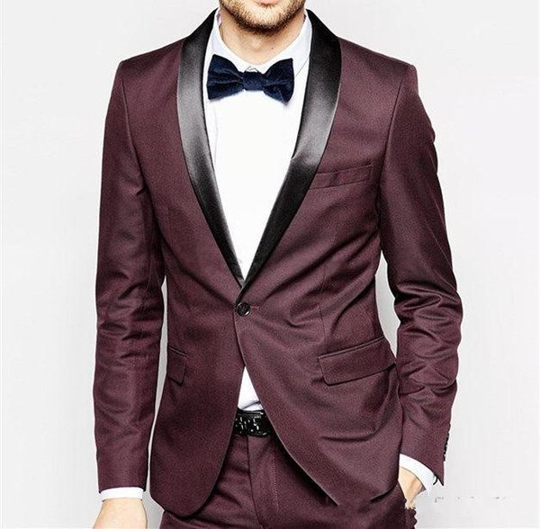New Stylish Design Groom Tuxedos One Button Burgundy Shawl Lapel Groomsmen Best Man Suit Mens Wedding Suits (Jacket+Pants+Tie) 943