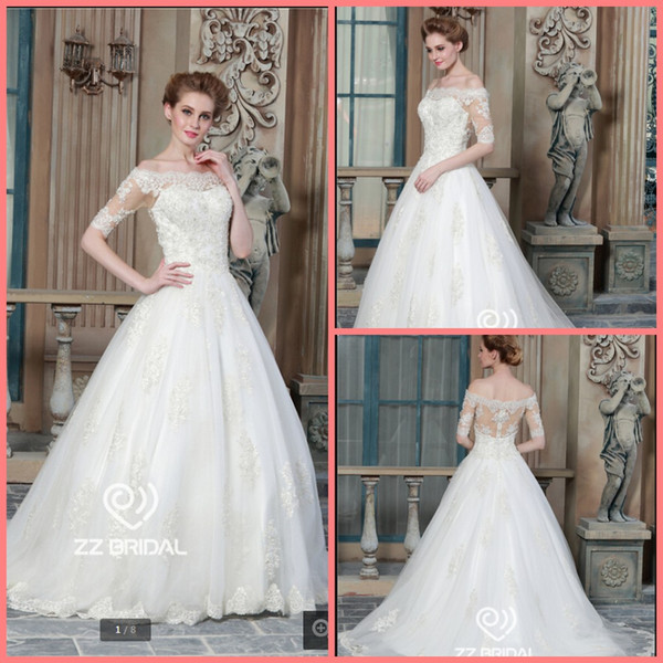Robe de mariage ball gown white lace appliques wedding dress off the shoulder half sleeve beaded sequins elegant bride gowns best selling