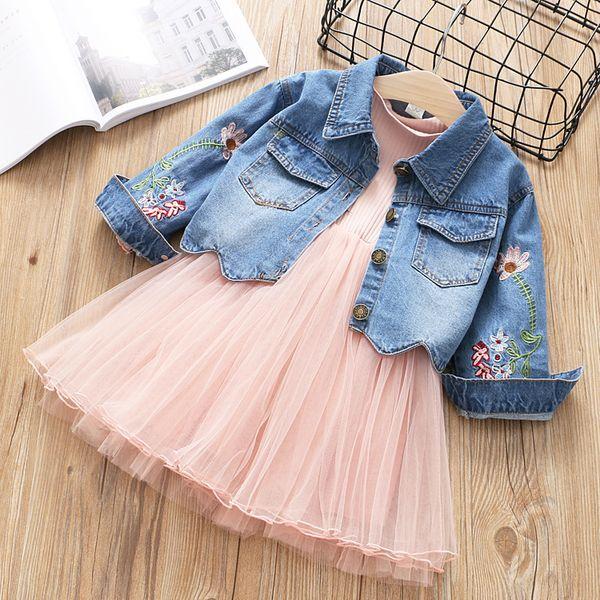 Girls Set Kids Long sleeve Dress+Denim Floral Embroidery Jacket Coat 2pcs/set Girls Fashion Dress Denim Jacket Outfits Children Clothing