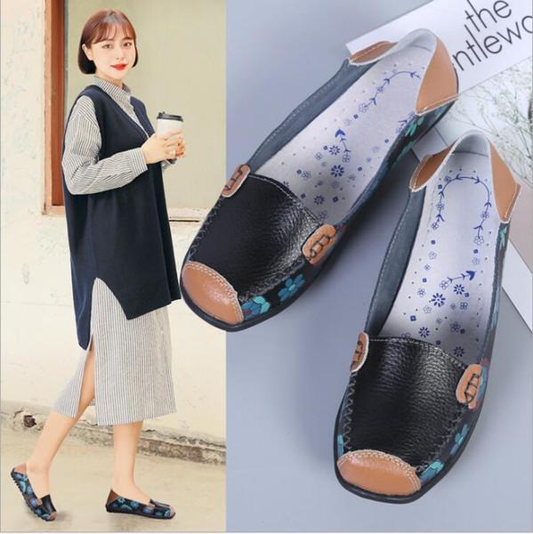 Doug Chaussures Mocassins Plates Infirmières Mère Chaussures Imprimées Plus La Taille Chaussures Douces Flats D'été Casual Chaussures En Cuir Véritable Sandale À Chaussure A5095