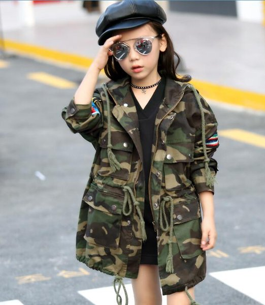 2017 spring children's clothes girls trench camouflage x-long baby girl jackets for girls boys big kids hooded trench outerwears thumbnail