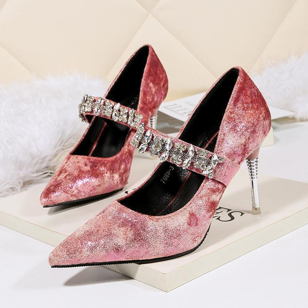 Lucky2019 Newest Bridal Wedding Party Dress Sexy Pointed Toe Rhinestone Pink 9cm Stiletto Heels Women Single Shoes 993-3