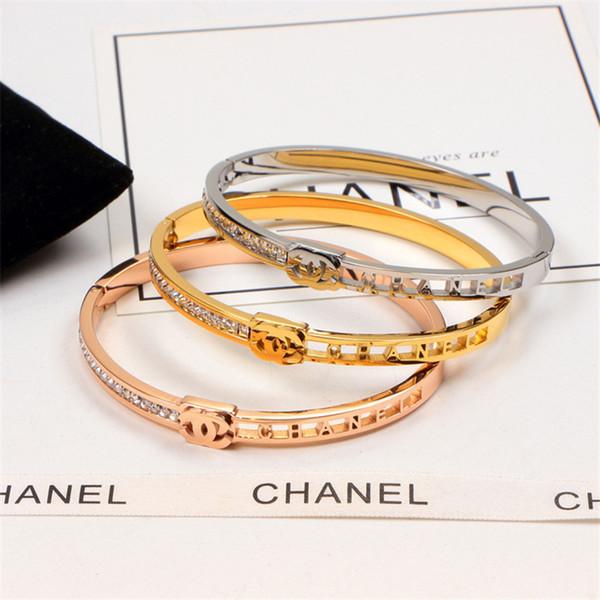 Rhinestone Charm Bracelets 18K Letter Hollow Out Bracelets For Unisex Rose Gold Plate Bracelet For Men Women