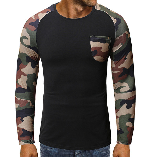 2019 mens designer de camisetas inverno manga longa T-shirt venda quente moda masculina camuflagem bolso splicing manga longa ocasional camiseta WGTX205