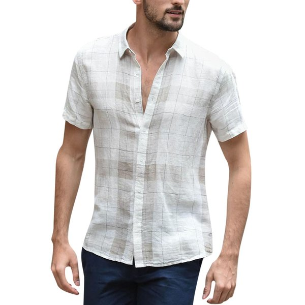 vogue men casual short sleeve cotton linen plaid shirts fashions male loose casual button-up vneck shirt camisa social masculina