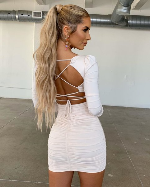 Womens Designer Dress Long-sleeved Pleated Open-back Lace-up Hip Sexy Club Dress Womens Clothing One-piece 2020 Spring Summer Hot Womens Designer Dress Long-sleeved Pleated Open-back Lace-up Hip Sexy Club Dress Womens Clothing One-piece 2020 Spring Summer