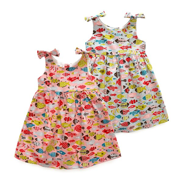 Latest Infant Baby Girls' wear Good quality Casual cotton linen summer baby girl dresses style baby Fish frock designs