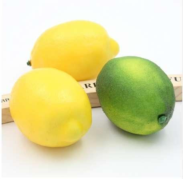 1PCS 9.5CM Artificial Simulation fruit Lemon Kindergarten Garden Family Kitchen Decoration Handwork DIY Fruit Green and Yellow