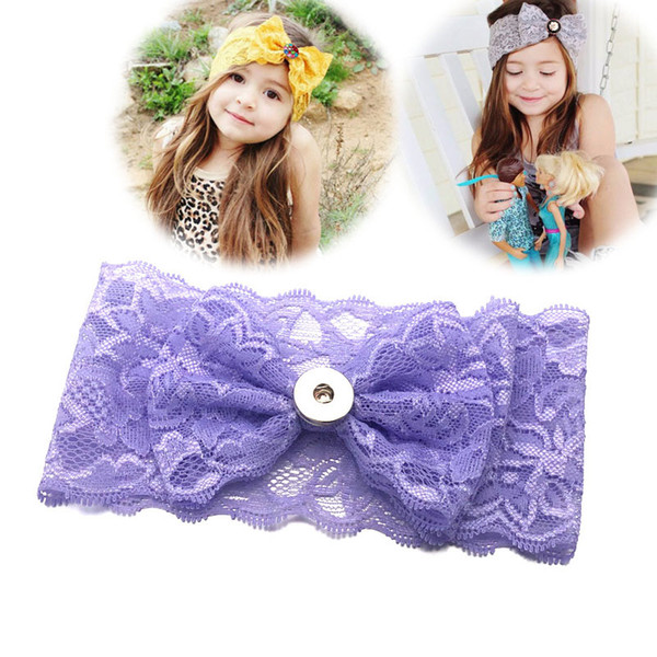 Interchangeable 012 Bow Lace Hair Band Fit 18mm Snap Button Charm Fashion Jewelry For Women Girl Kids Hair Clip Gift