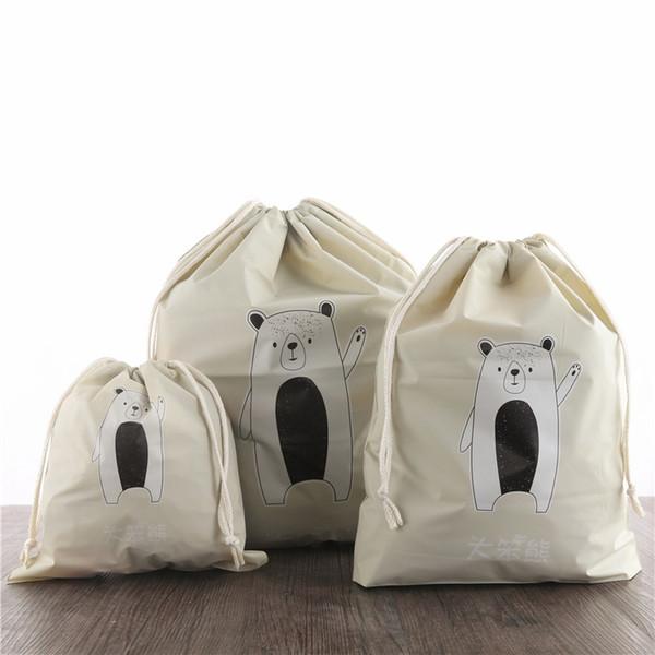 2019New 3 stücke Separate Taschen Reisebündel Tasche Set Wasserdichte Kordelzug Kleidung Sammlung PVC Cartoon Schuhe Unterwäsche Organi