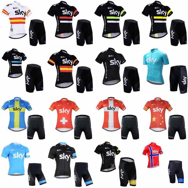 Sky Team Radfahren mit kurzen Ärmeln Jersey Shorts Sets 2019 Fahrradbekleidung Anzüge Schnelltrocknend Reißverschluss Tragbar Atmungsaktiv 012501f
