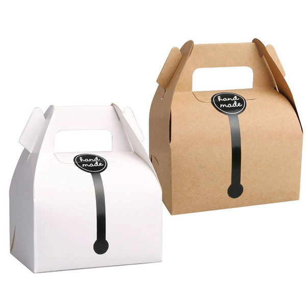 Коробка для торта из крафт-бумаги с 11,5 * 8 * 9см ручками для упаковки подарков на свадьбу, подходит для подарков ручной работы, продуктов питания, мыла, сдобы, печенья