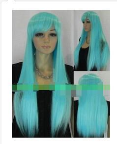 Косплей светло-синие волосы женщины полный парик для женщин парики