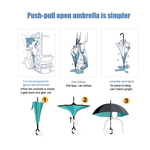 3f0ef604b712 2019 Double Layer Reverse Umbrella Straight Rod Car Weatherproof Umbrella  For Women With UV Protection Upside Down From Shutie, &Price; | DHgate.Com