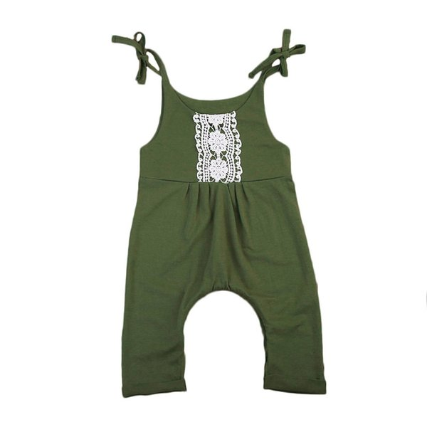 Sleeveless Summer Baby Girls Lace Rompers Newborn Baby Girl Jumpsuit Army Green Romper Outfits Sunsuit Clothes Set