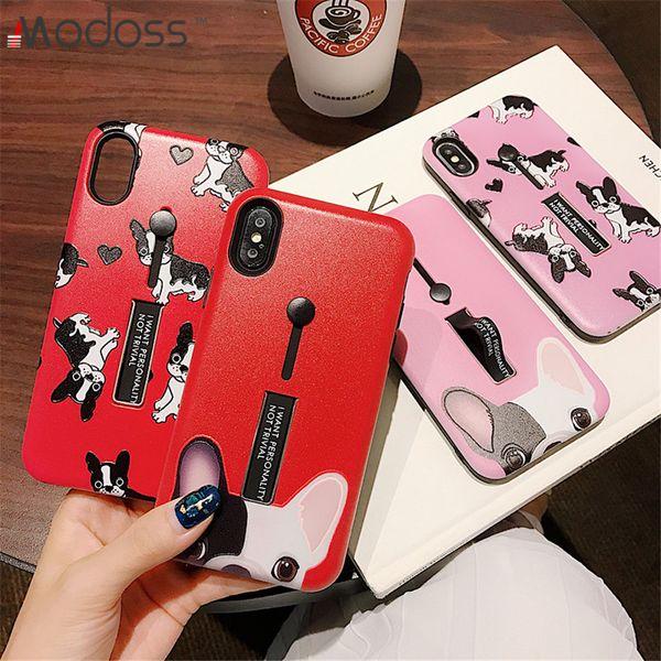 ZZYD TPU + PC Cute Dog Hybrid Ring Grip Kickstand Holder Kawaii Bulldog Cell Phone Cases Covers For Iphone X XS XR XS MAX