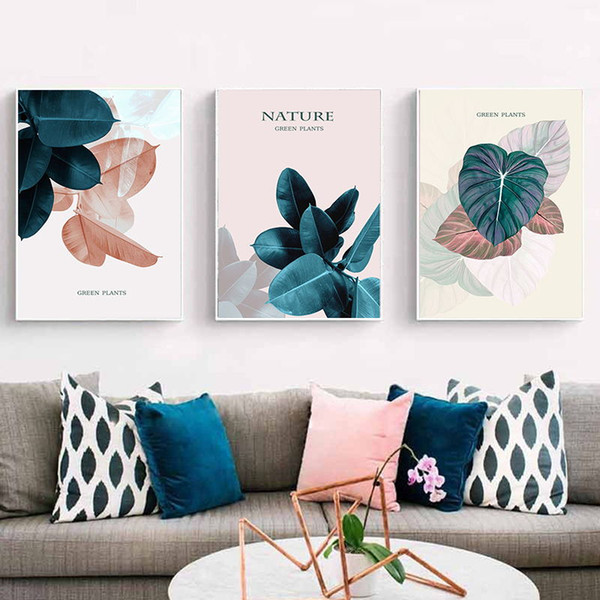 Modern Minimalistic Colorful Leaves Canvas Painting Art Abstract Print PosterPicture Wall Living Room Bedroom Home Decoration