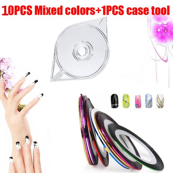 Nail Art manicure Tool Set compreso 1pc arte del nastro della striatura di chiodo trasparente Linea Case + 10pcs nastro Stripe Decoration Tool Set