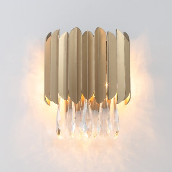 Lámpara de pared de oro para el hogar de lujo de acero inoxidable Apliques de pared Accesorio de iluminación AC90-260V Luz de cristal de pared