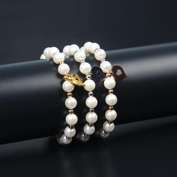 New Bear Charm Armband Edelstahl Jäten Geschenk mit 8mm Shell Pearl Perlen Top Qualität Love Heart Armbänder Schmuck