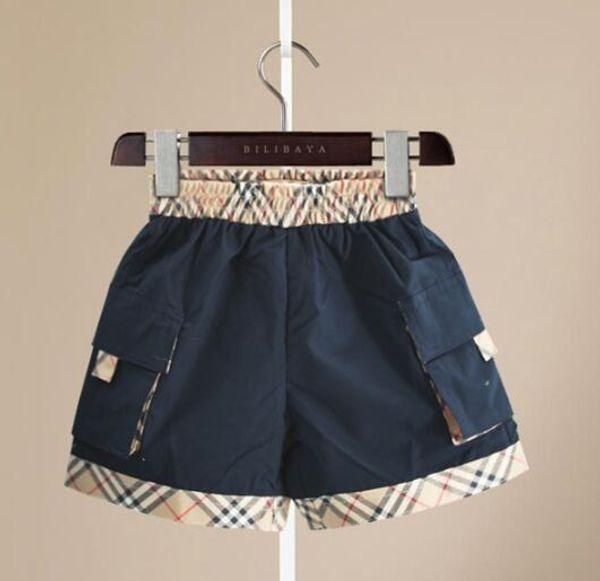Kinder, die Kleinkind-Jungen-Sommer-Plaid-Kurzschluss-Baby-Taschen-beiläufige Kurzschluss für 2-7 Jahre alt kleiden Freies Verschiffen