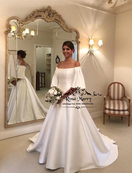 Скромная Плюс Размер Страна Пляж Свадебные платья 2020 Линия плеча Короткие рукава White Satin Дешевые Свадебные платья Платье De Novia