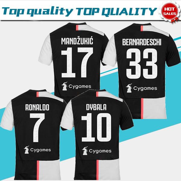 2019 Brand New # 7 RONALDO League Club Home Soccer Jersey 19/20 # 10 DYBALA Uomini popolari sport camicia gioco uniforme sulle vendite con la più recente patch