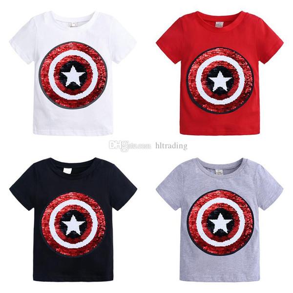 Ropa de diseñador para niños, niñas, niños, lentejuelas, niños, dinosaurio, unicornio, súper héroe, camisetas 2019, camisetas de verano, moda para niños, ropa C6662