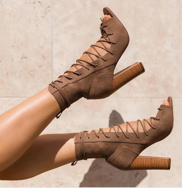 2019 stile europeo e americano nuovo pizzo moda con stivali freddi romani con tacco alto scarpe sexy cava
