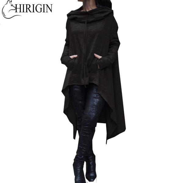 Autumn Women Solid Long Sleeve Asymmetric Length Hoodie Sweatshirt Pullover Tops Casual Blouse Jumper Coat