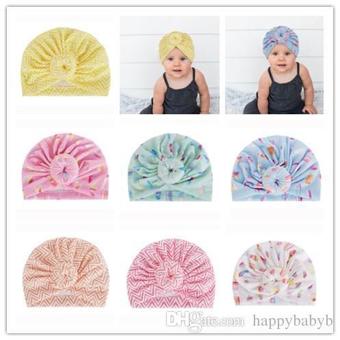 Netter Säuglingsball-Knoten-Böhmen-Turban bedeckt Baby-Krapfen-Hut-Eis am Stiel gestreiftes Baumwollhaarband für Frühlings-Sommer mit einer Kappe