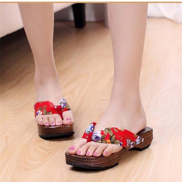 2019 SAGACE Summer Platform Sandalia Feminina Buty Damskie Mujer Shoes Wood Women Sandals Clog Wooden Slippers Flip Flops