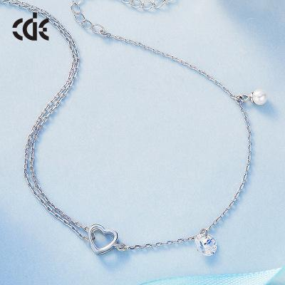 Cdyle Crystals from Swarovski S925 Sterling Silver Love & Lock Japanese and Korean Students' couple's fresh Accessories Ladies Romantic Gift