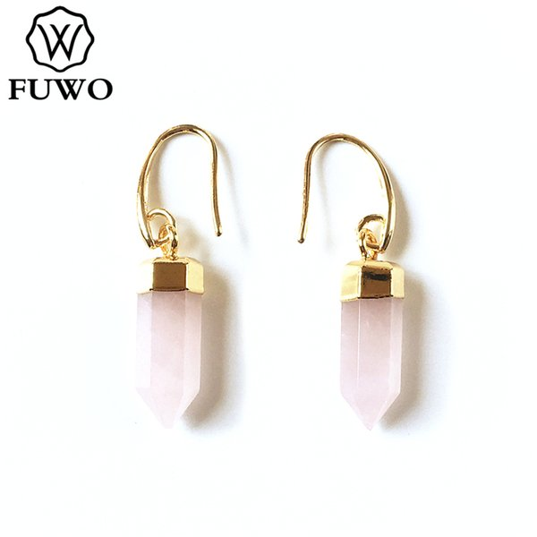 fuwo natural pink quartz amethysts earrings with gold trimmed fashion tiny bullet shape dropped earrings for women er256