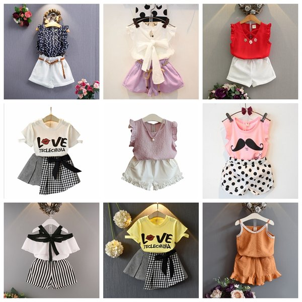 21 design baby girls summer outfits T-shirt top+shorts skirts 2 pcs set kids girl suit 2019 new fashion outwear children boutiques clothing