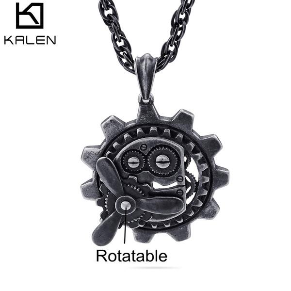 Retro Black Rotatable Motor Vehicle Pendant Necklace For Men Boys Stainless Steel Punk Biker Pendants Necklace